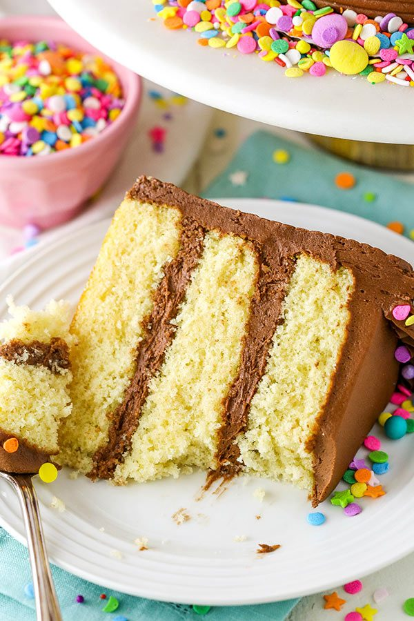 Easy Yellow Cake with Chocolate Frosting Recipe   Better Than Cake Mix