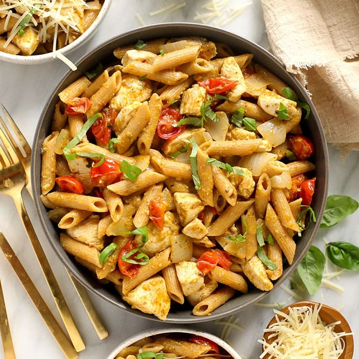 Pesto Chicken Pasta (Easy 30 Minute Meal!) - Fit Foodie Finds