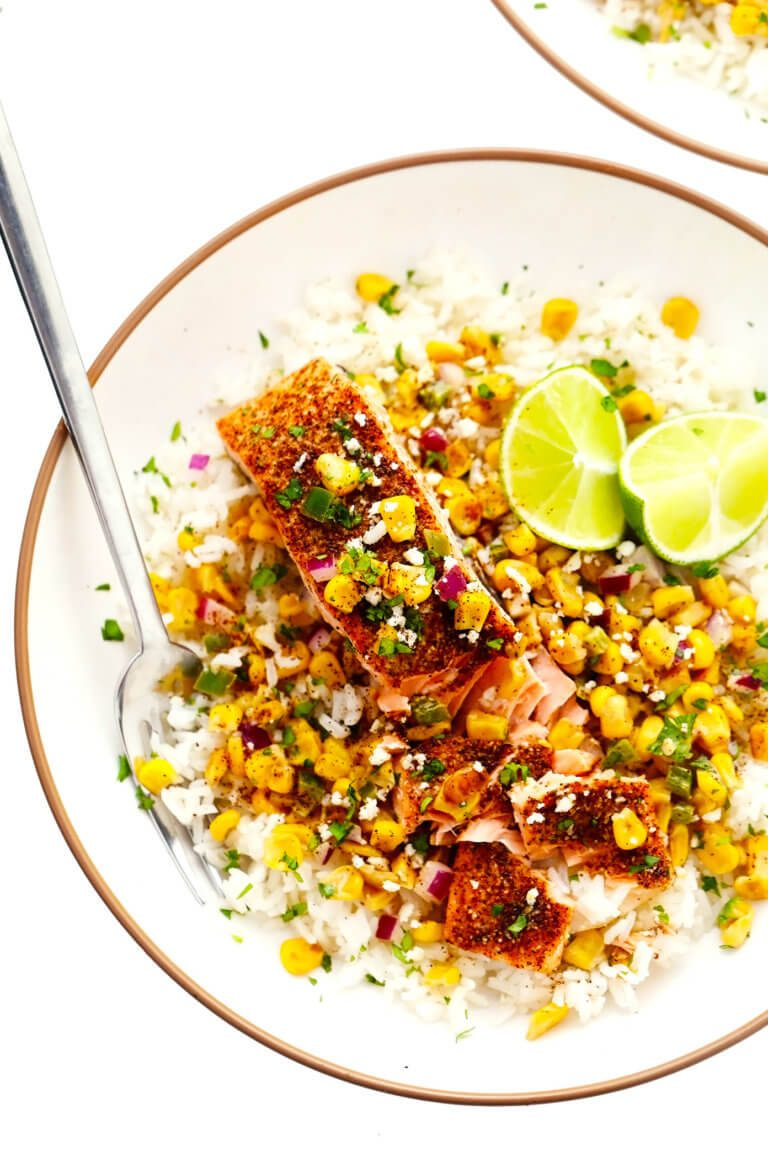 Chili Lime Salmon with Esquites (Mexican Creamy Corn Salsa)   Gimme Some Oven